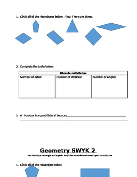 Geometry Assessment Packet