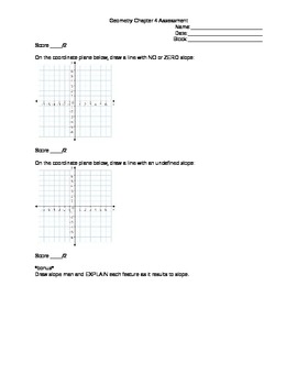 Geometry Assessment:  Using Algebra - Lines in the Coordinate Plane