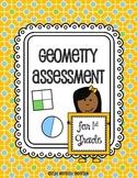 Geometry Assessment for 1st Grade