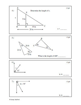 7.G CCSS (Geometry Assessments) EDITABLE