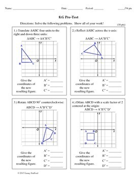 8th Grade Math Geometry Assessments (Common Core Aligned 8.G)
