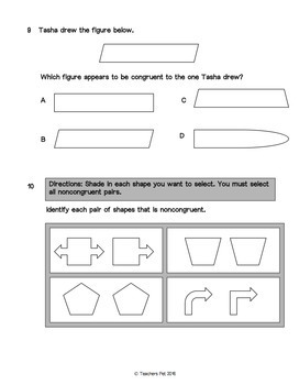 Geometry Assessments: Congruency and Geometric Figures