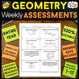 Geometry Assessments | Geometry Quizzes EDITABLE