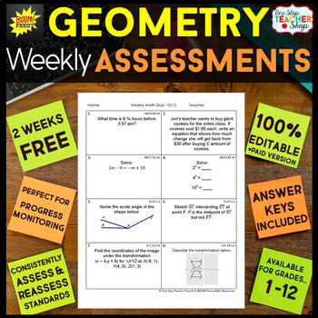 Geometry Assessments - Quizzes - FREE