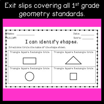 1st Grade Geometry Exit Ticket Assessments ~ Shapes & Fractions ~ CCSS