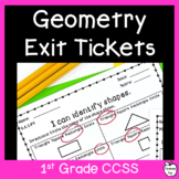 1st Grade Geometry Assessments ~ Shapes & Fractions ~ CCSS