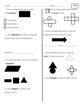Geometry Assessments and Practice {First Grade Common Core 1.G.1-1.G.3}