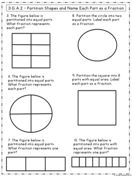 Geometry Assessments for Third Grade Common Core