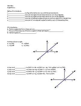 Geometry Assignment -- Angle Pairs -- Complementary, supplementary, linear pairs