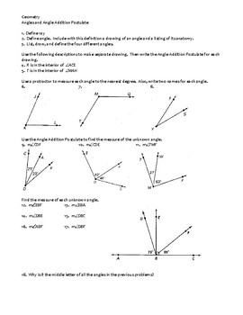 geometry assignment angles and angle addition postulate - Angle Addition Postulate Worksheet