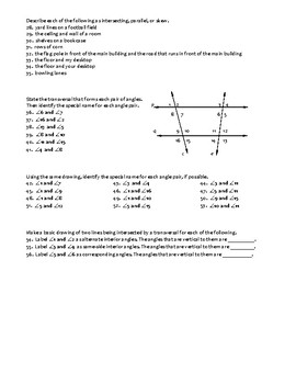 Geometry Assignment -- Parallel and skew lines; Angles form by a transversal