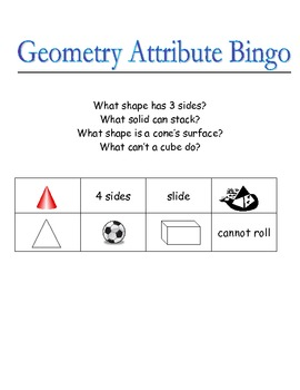 Geometry Attribute Bingo
