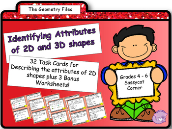 Geometry - Attributes of 2D Shapes Task Cards