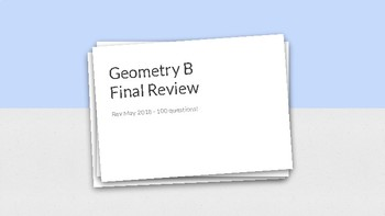 Geometry B Final Exam Review Cards