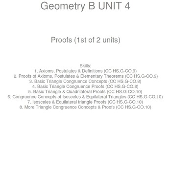 HS Geometry B UNIT 4: Concepts & Proofs(1) (5 worksheets &