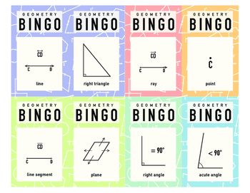 Geometry 30 Card BINGO Game