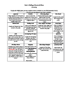 Geometry BINGO Math Activity Menu - Use in class or for homework