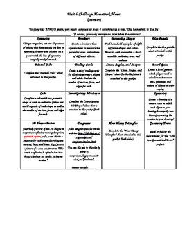 Geometry BINGO Math Activity Menu - Use in class or for homework