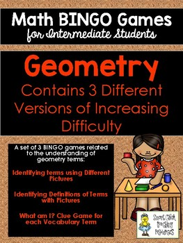 Geometry BINGO Math Game for Intermediate Students - 3 Versions to Play!