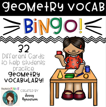 Geometry BINGO! 32 Different Cards!!! Practice Math Vocabulary in a FUN Way!