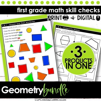 Geometry BUNDLE - First Grade Print and Go