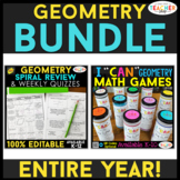 Geometry BUNDLE | Spiral Review, Games & Quizzes for the E