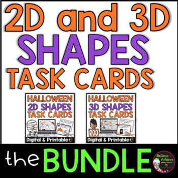 2D and 3D Task Cards BUNDLE (Halloween Theme)