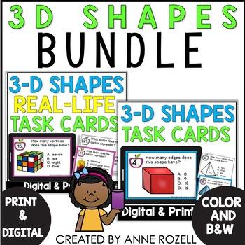Geometry BUNDLE of 3 D Task Cards