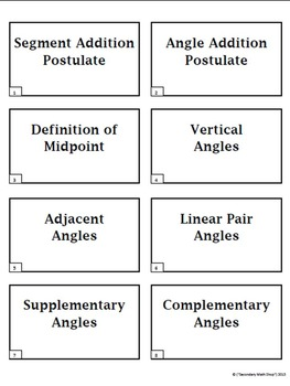 Parallel Lines & Angles Note Cards