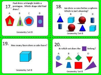 Geometry:  Basic Level---Task Cards and Worksheets