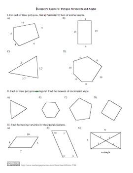 Geometry Basics IV: Polygon Perimeters and Angles