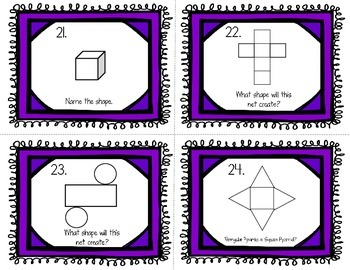 Geometry Basics Task Cards (Shapes, Angles, Lines, Triangles, Nets) Grade 4 or 5