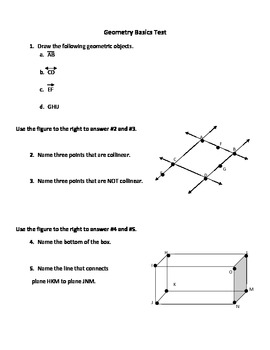 Geometry Basics Test and Answer Key