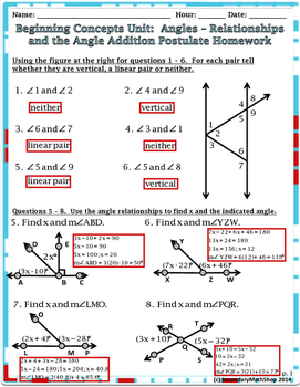 Beginning Concepts #4 -Angles - Relationships/Angle Addition Notes/Hmwk