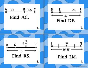 Segment Addition Postulate (Beginning  Concepts ) Task Cards