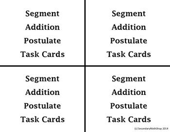 Segment Addition Postulate (Beginning Concepts ) Task ...