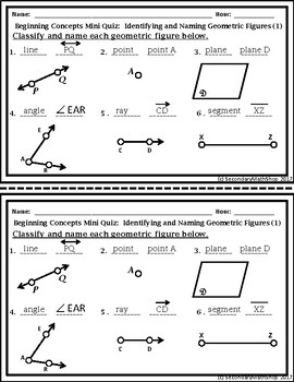 Geometry Beginning Concepts Unit  Mini-Quizzes