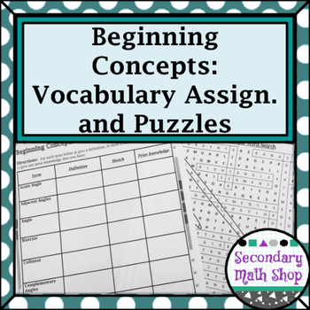 Unit 1: Beginning Concepts Unit Vocabulary Assignment and Puzzles