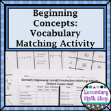 Beginning Concepts Vocabulary Matching Activity
