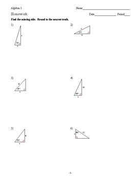 Geometry - Beginning Trig - Homework Pack