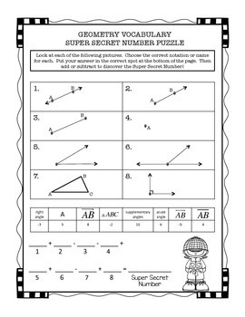 Geometry Beginning Vocabulary Puzzles and Drawings