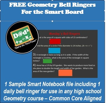 Geometry Bell Ringer for  High School Math smart board