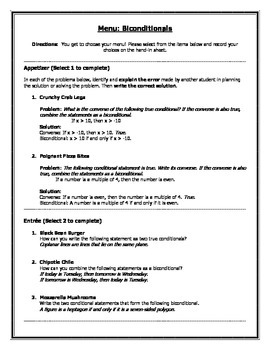 Geometry Biconditionals Menu Worksheet (with answer key!)
