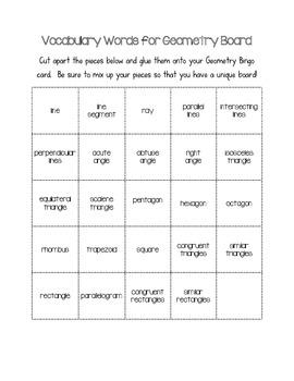 Geometry Bingo