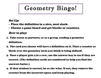 Geometry Bingo! A Center or Small Group Activity