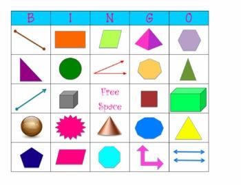 Geometry Bingo - Figures, Lines, Shapes
