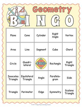 Geometry BINGO - Geometry Vocabulary Game