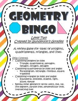 Geometry Bingo - Level Two