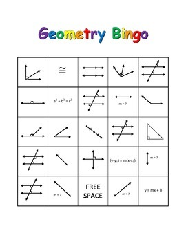 Geometry Bingo - Parallel and Perpendicular Lines