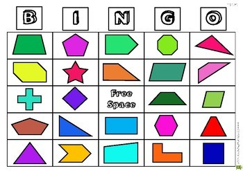 Geometry Bingo with Word Question Cards - 4th Grade Geometry Game
